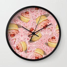 Pink Paisley Cupcake Twirling Wall Clock
