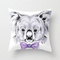 koala Throw Pillows featuring Koala by 13 Styx
