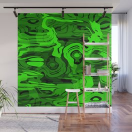Sparkling doodle spiral spots on green. Wall Mural