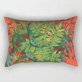 Autumn Floral on Orange Rectangular Pillow