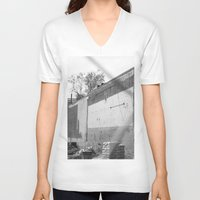washington dc V-neck T-shirts featuring Construction site and fence Washington, DC by RMK Photography