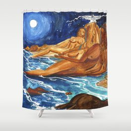 Moon Bathing Babes - Watercolor painting of Earth and Ocean Goddesses Shower Curtain