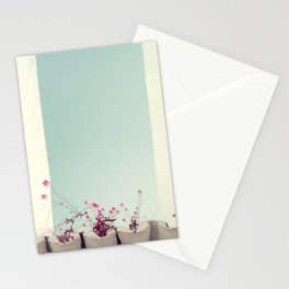 Pink flowers on the white rooftop Stationery Cards