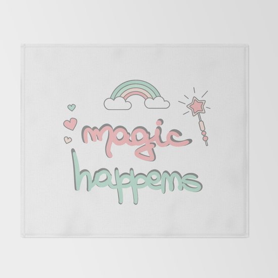 cute hand drawn lettering magic happens with magic wand, rainbow and hearts by alicevacca