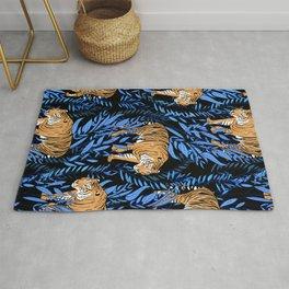 Tiger and leaf pattern Rug