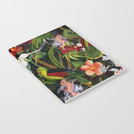 Vintage & Shabby Chic - Black Tropical Parrot Night Garden Notebook