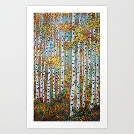 Last Hurrah, Aspen Tree Painting Art Print