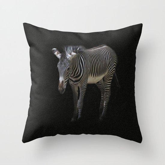 Black and White on Black Throw Pillow