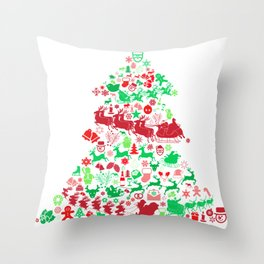 Christmas Tree Santa Sleigh Gift Throw Pillow