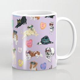 Valentine's Day Candy Hearts Puppy Love - Purple Coffee Mug
