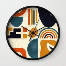 mid century shapes geometric abstract color 3 Wall Clock