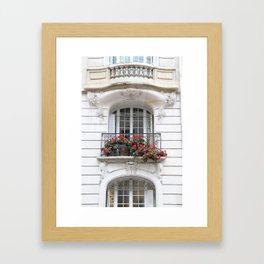 Parisian Balcony with Geraniums Framed Art Print