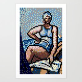4kpx-quappi-in-blue-on-a-boat.gif Art Print