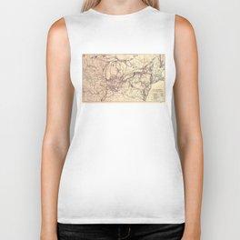 New York Central & Hudson River Railroad Map (1900) Biker Tank