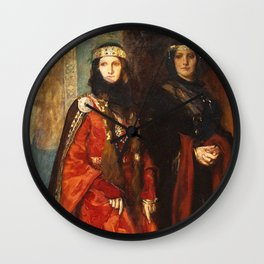 King Lear: Goneril and Regan, Act I, Scene I by Edwin Austin Abbey Wall Clock