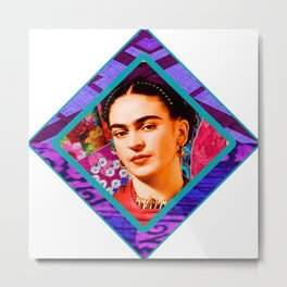 Kahlo Retro Diamond Metal Print