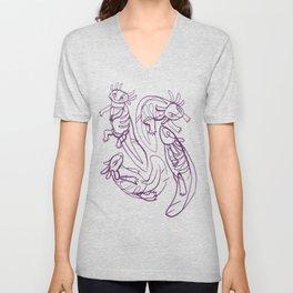 Scribbled Axolotls in Color Unisex V-Neck