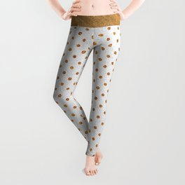Elegant white modern faux gold glitter polka dots Leggings