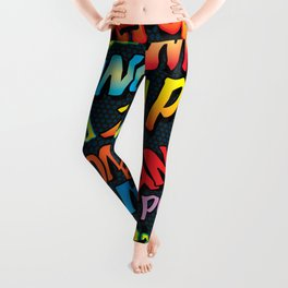 Comic Book Typographic Pattern Pop Art Leggings