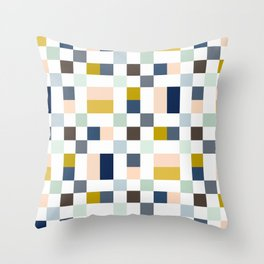 Harionago - Abstract Colorful Pixel Patchwork Throw Pillow