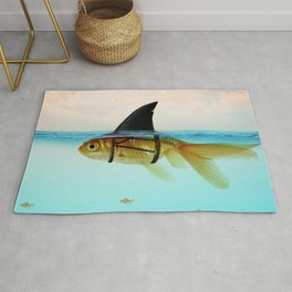 goldfish with a shark fin Rug