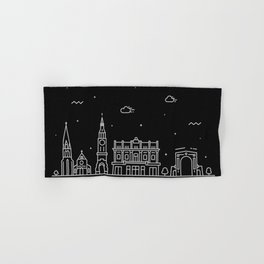 Christchurch Minimal Nightscape / Skyline Drawing Hand & Bath Towel