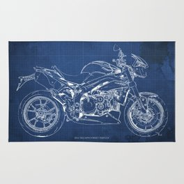 Motorcycle blueprint, white and blue art Rug