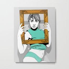 Girl with Frame Metal Print