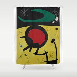 Joan Miro Vol Doiseaux, 1968, Flight of Birds Encircling the 3 Haired Woman on a Moon, Artwork, Prin Shower Curtain