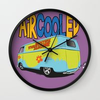 vw bus Wall Clocks featuring VW Camper Drag Bus by VelocityGallery