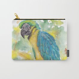 Colorful parrot on a branch. pastel Carry-All Pouch
