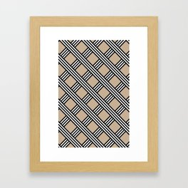 Pantone Hazelnut, Black & White Diagonal Stripes Lattice Pattern Framed Art Print