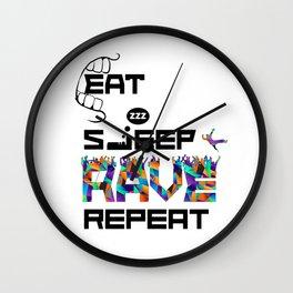 Eat Sleep RAVE Repeat Wall Clock