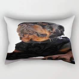 Regal and Proud Male Rottweiler Portrait Isolated Rectangular Pillow