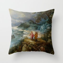 """Jan Brueghel the Elder """"Wide mountain landscape with the temptation of Christ"""" Throw Pillow"""