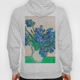 Irises by Vincent van Gogh Oil Painting Still Life Floral Arrangement In Vase Hoody