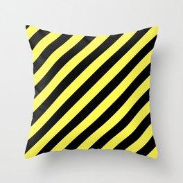 Diagonal Stripes Black And Yellow Throw Pillow