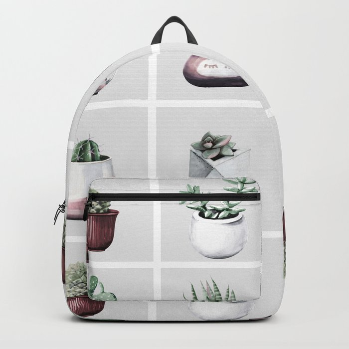 Cactus Bunch Grid Rose Gold Gray Green Backpack