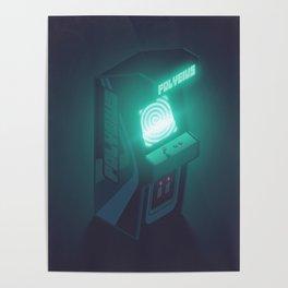 Polybius Arcade Game Machine Cabinet - Isometric Black Poster