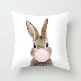 Bubble Gum Bunny Throw Pillow