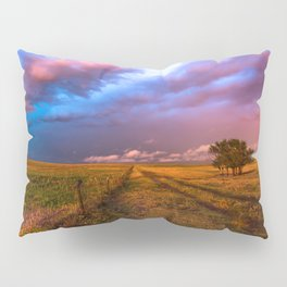 Far and Away - Lone Tree Under Colorful Sky in Oklahoma Panhandle Pillow Sham