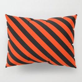Bright Red and Black Diagonal LTR Stripes Pillow Sham