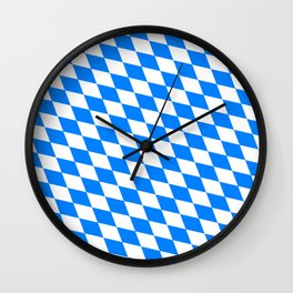 Bavarian Blue and White Diamond Flag Pattern Wall Clock