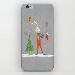 Rabbit celebrating Christmas iPhone Skin