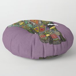 floral elephant violet Floor Pillow