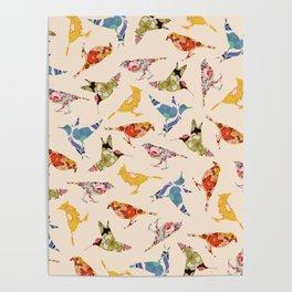 Vintage Wallpaper Birds Poster