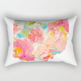 floral ohio state map Rectangular Pillow