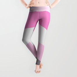 Pink and gray chevron Leggings