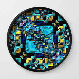 Blue Technology Abstract Wall Clock