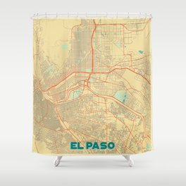 El Paso Map Retro Shower Curtain